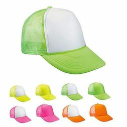 6 Lot Blank Neon Foam Mesh Trucker Hats Caps Solid Two Tone