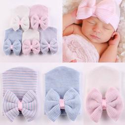 2019 Cute Baby Girls Infant Striped Cap Hospital Newborn Sof