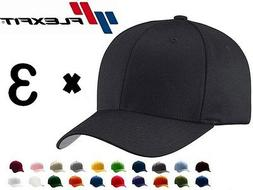 3-PACK NEW FLEXFIT 6277 Structured Twill Baseball Hat FITTED