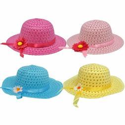 4 Pack Girls Tea Party Hats Assortment Sunhat Bonnet for Lit