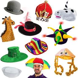 Funny Party Hats 6 Assorted Dress Up Costume & Party Hats by