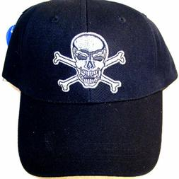 6 SKULL X BONE BASEBALL CAPS scull hat mens novelty headwear