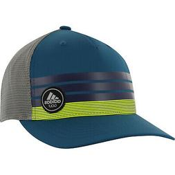 NEW Adidas Golf Stripe Trucker ClimaCool Blue/Yellow Adjusta