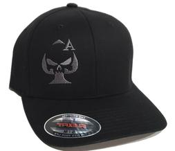 Ace of Spades Sniper Embroidered FLEXFIT Black Cap Hat, 5001