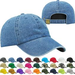 KBETHOS ADJUSTABLE LOW CROWN SOLID BASEBALL CAPS Denim Hats