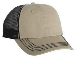 Mega Cap Adult Pre Curved Contrast Stitch Visor Washed Twill