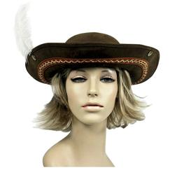 Adult Women's Brown Faux Leather Embroidered Feather Cosplay