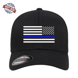 American Flag Thin Blue Line Embroidered Flexfit Fitted Blac