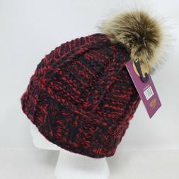 Angela & William Faux Fur Pom Pom Knit Hat ~ NWT-Dark Red &
