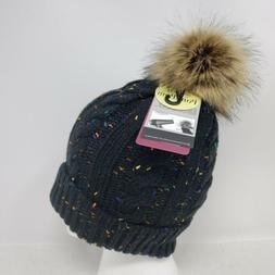 Angela & William Faux Fur Pom Pom Knit Hat ~ NWT ~ Black Wit