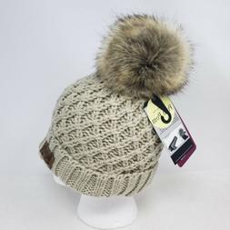 Angela & William Faux Fur Pom Pom Knit Hat ~ NWT - KHAKI Col