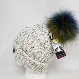Angela & William Faux Fur Pom Pom Knit Hat ~ NWT Ivory Multi