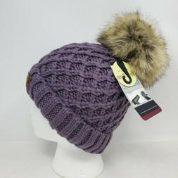 Angela & William Faux Fur Pom Pom Knit Hat ~ NWT - Lavender