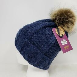 Angela & William Faux Fur Pom Pom Knit Hat ~NWT-Dark Navy &