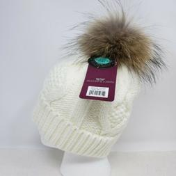 Angela & William Genuine Fur Pom Pom Knit Hat ~ NWT ~ Off Wh