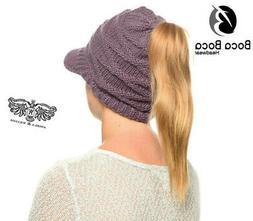 Angela & William Ponytail CrissCross Crochet Beanie w/Visor