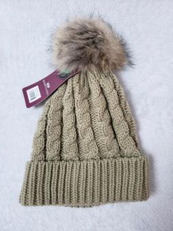 ANGELA & WILLIAM Women's Cable Knitted Pom Pom Beanie Hat Ta