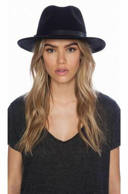 Angela William Women's Hats Band Wide Rim Sun 100% Wool Blac