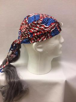 Assorted Doo Rag Bandana with grey synthetic hair fun hat Co