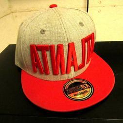 Kbethos Atlanta Snapback Flat Bill Hat Cap Grey Red Brim Adj