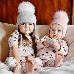 Baby Boy Girls Hair Ball Earbud Hat Children Crochet Winter