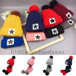 Baby Boys Girls Kids Winter Warm Hats Scarf And Cap Set Earf
