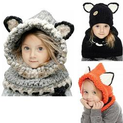 Kids Winter Hat Baby Girls Boys Scarf Earflap Hood Fox Scarv