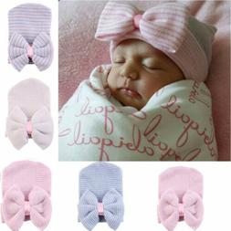Baby Girls Infant Striped Soft Hat with Bow Cap Hospital New