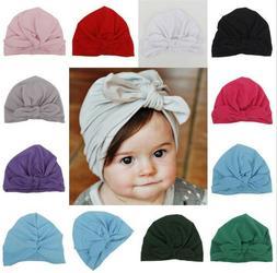 Baby Girls Turban Knot Head Wrap Cute Kids Rabbit Ear Hat Bu