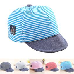 Baby Toddler Boy Girls Summer Cotton Hats Striped Baseball C