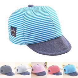 Baby Toddler Boy Girls Summer Cotton Hats Striped Baseball C