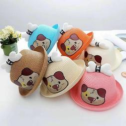 Baby unisex Fashion Straw Hats for Children Summer Beach Sun
