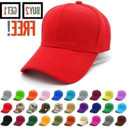 Plain Baseball Cap Strapback Adjustable Solid Blank Hat Polo