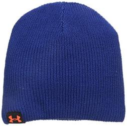 Under Armour Men's Basic Knit Beanie, Cobalt /Bolt Orange, O