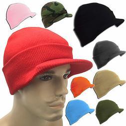 Beanie Beanies Plain GI Jeep Cap Caps Hat Visor Ski Knit Thi