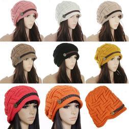 Beanie Caps For Women Beret Baggy Hats New Button Girls Wint
