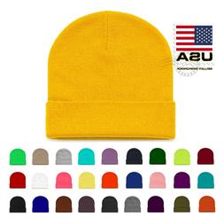Beanie Slouch Skull Winter Thicken Warm Cuff Hats Ribbed Sol