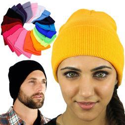 Unisex Beanie Hats For Women Men Solid Color Long Knit Plain