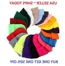 Beanie Plain Knit Ski Skull Hat Cap Cuff Winter Warm Slouchy
