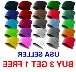 Beanie Thin Plain Knit Hat Baggy Cap Cuff Slouchy Skull Hats