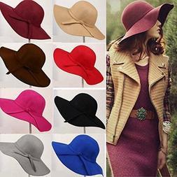 Black Cap For Women Fedora Warm Brim Wool Wide Hat Womens Fa