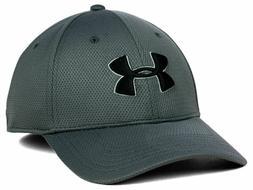 UNDER ARMOUR BLITZING GRAY & BLACK STRETCH FIT M/L CAP HAT *