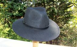 Brand New Wool Wide Brim Fedora Hat   Black