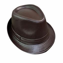 Brown Men Women Leather Fedora Trilby Hats Jazz Caps Chrisma