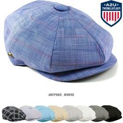Cabbie Newsboy Gatsby Cap Mens Linen Ivy Hat Golf Driving Su