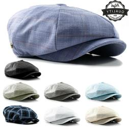 Cabbie Newsboy Gatsby Cap Mens Linen Ivy Hat Golf Driving Su