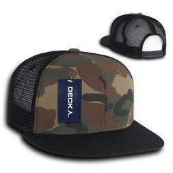 DECKY Camouflage FLAT Bill Trucker Hat 6 Panel Mesh Snapback
