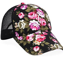 Sport Cap, HP95 Women Flower Embroidery Cotton Baseball Cap