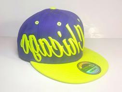 KBETHOS Chicago Snapback Purple And Green Hat Bright Vibrant