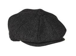 Classic Herringbone Newsboy Wool Applejack 8 Panel Hat Drivi